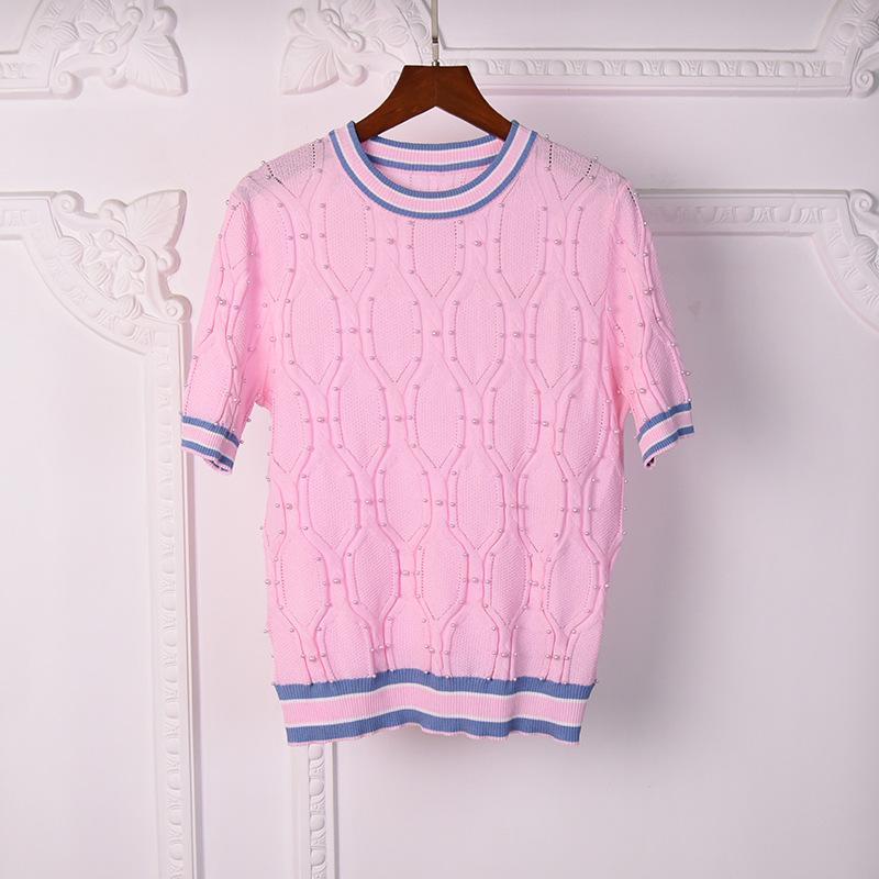 2021 Milano Style Style Primavera Estate Brand Same Style Style Maglione rosa Bianco Stampa Regolare manica corta Donne vestiti Mingzhi