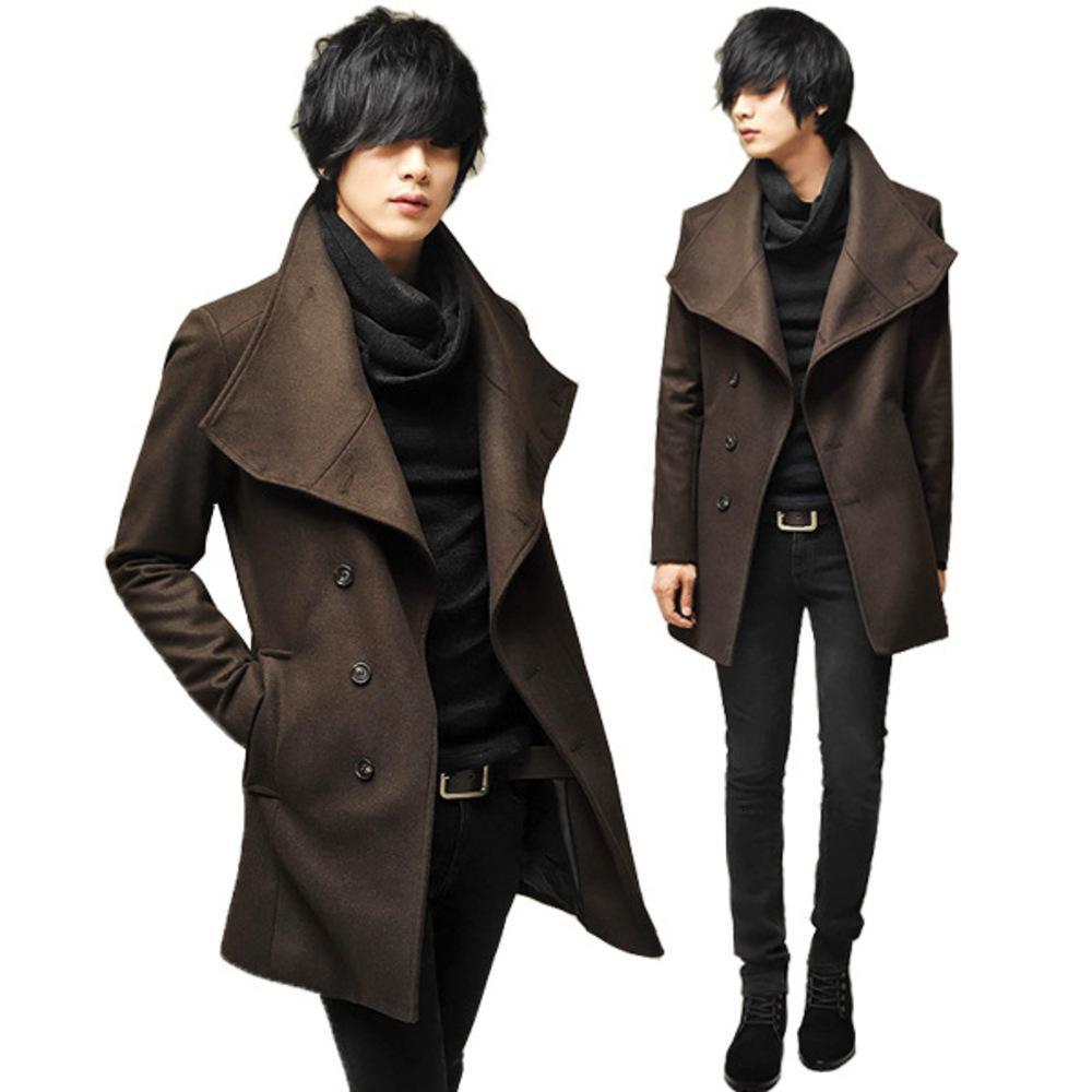 Tweed coréen Slim Fit Medium Long Manteau Grand revers Coup de laine classique de laine pour hommes