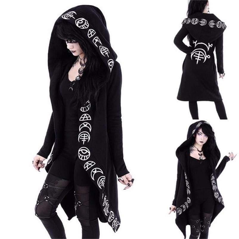 Punk Gotik Kadınlar Uzun Hoodie Rahat Hoodies Kazak Kadınlar Uzun Kollu Streetwear Harajuku Hoodie Boy Ceket Coat 201126