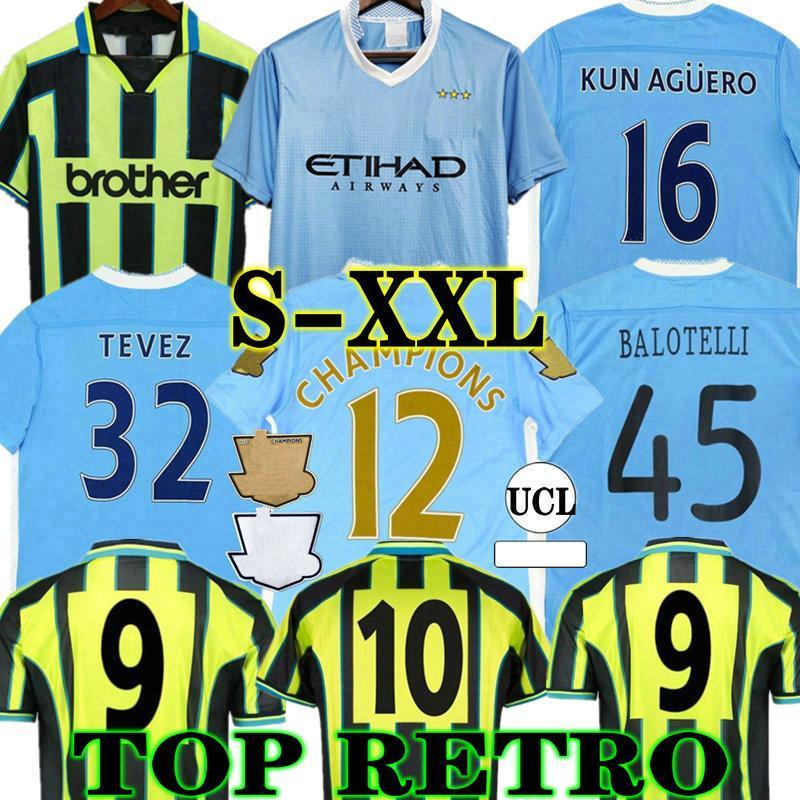 Manchester City Toure Yaya Balotelli Retro 11 12 City Soccer Jersey Classic Final 2011 2012 Man Kun AGUERO SILVA TEVEZ 98 99 Camicia da calcio Vintage Kompany