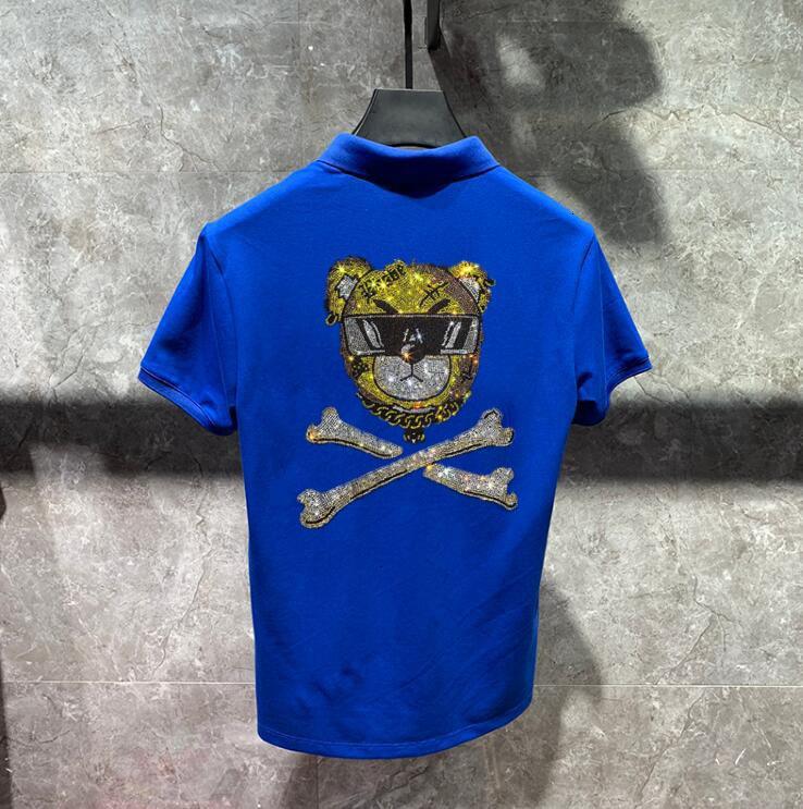 2021 Hot Drill New Fashion Brand Casual Diamond Stone Masculino Men Short Sleeve Cotton Shirt Rhinestones Polo RHTL