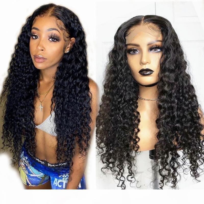 브라질 5 * 5 실크 탑 레이스 가발 곱슬 머리 가발 150 % 밀도 레이스 가발 아기 머리 인도 페루 머리카락