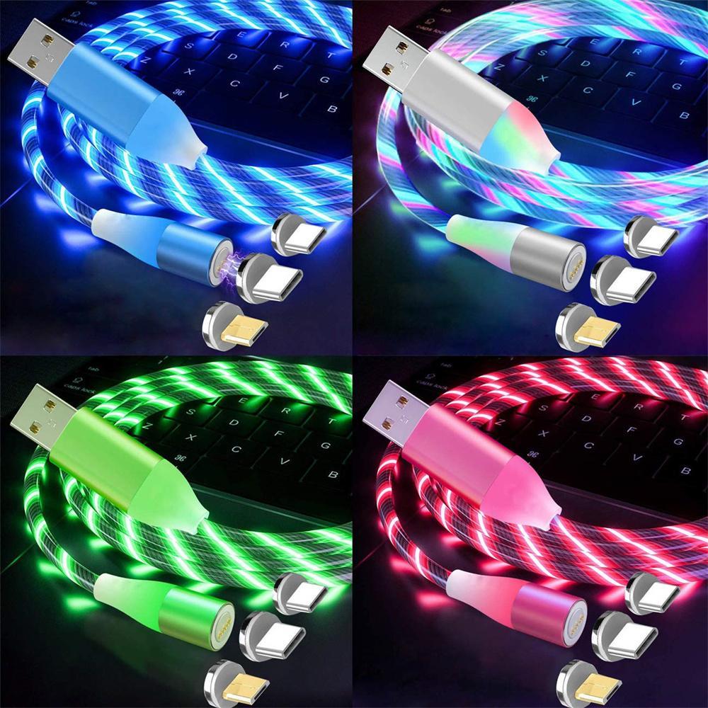 مضيئة LED تدفق ضوء المغناطيسي نوع C USB-C مايكرو كابل USB 1 متر 3ft لسامسونج S10 S20 S21 HTC LG Android PC الهاتف
