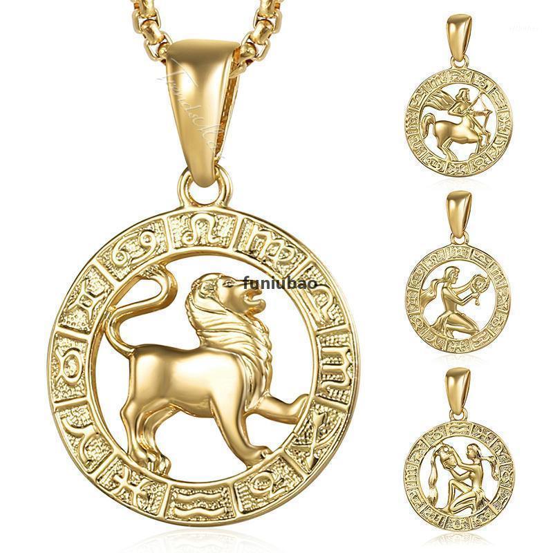 Kolye Kolye Kadınlar Erkekler Için 12 Burç Zodyak Işareti Altın Koç Leo Dropshipping 12 Takımyıldızı Erkek Kadın Takı HGPM241