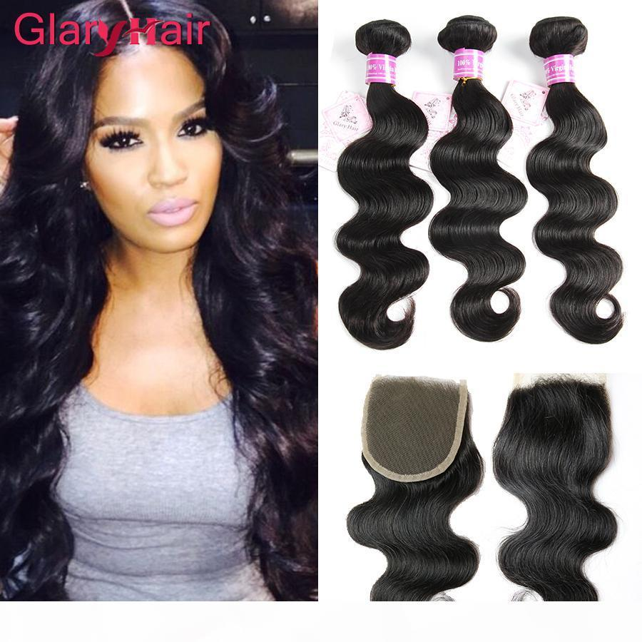 Best Selling Glary Hair Products Estensioni dei capelli brasiliani Remy Human Hair Wefts con chiusura Top Chiusura in pizzo 4x4 all'ingrosso solo per te