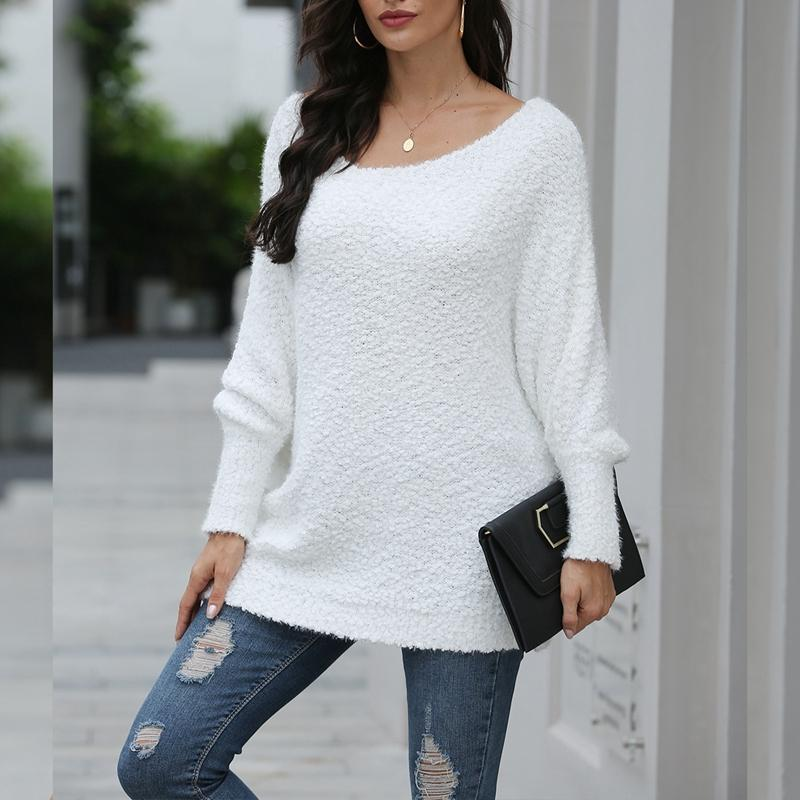 Сексуальный без бретелек свободный пуловер свитер осень сплошной цвет женский вязаный свитер