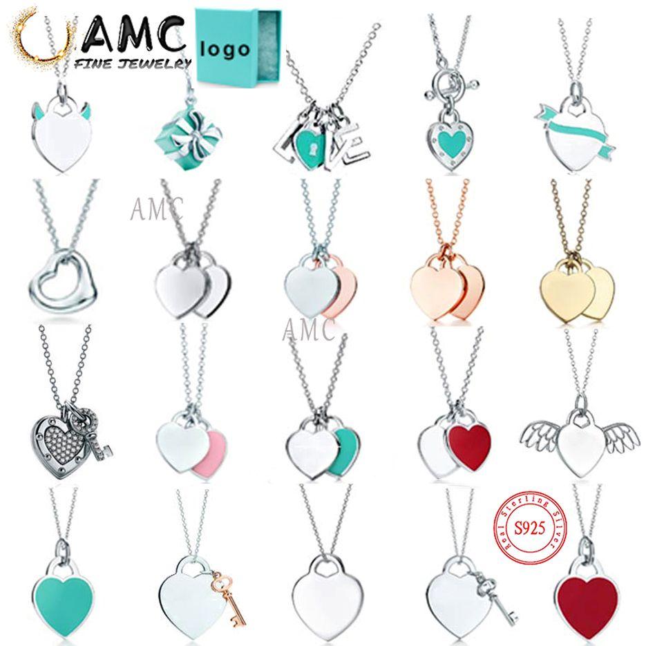 AMC TIFF Kolye 925 Gümüş Kolye Kolye Kadın Takı Nefis Craftsmanship Resmi Logo Klasik Mavi Kalp Kolye