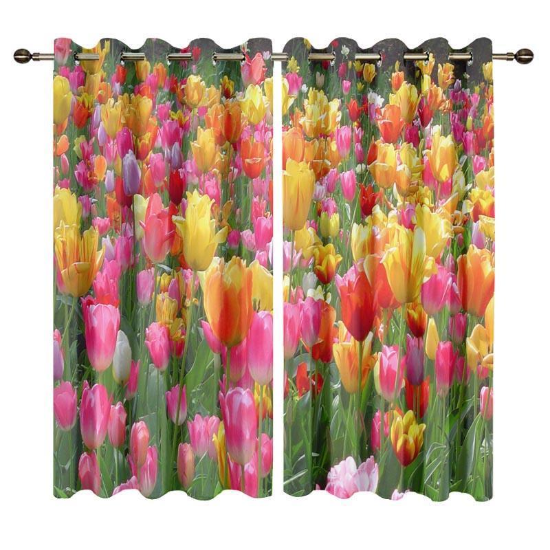 Vorhangvorhänge personalisierte moderne Stil Fenster für Kinder Schlafzimmer 3D Tulpe Blume gedruckt Wohnzimmer Vorhänge Rideaux