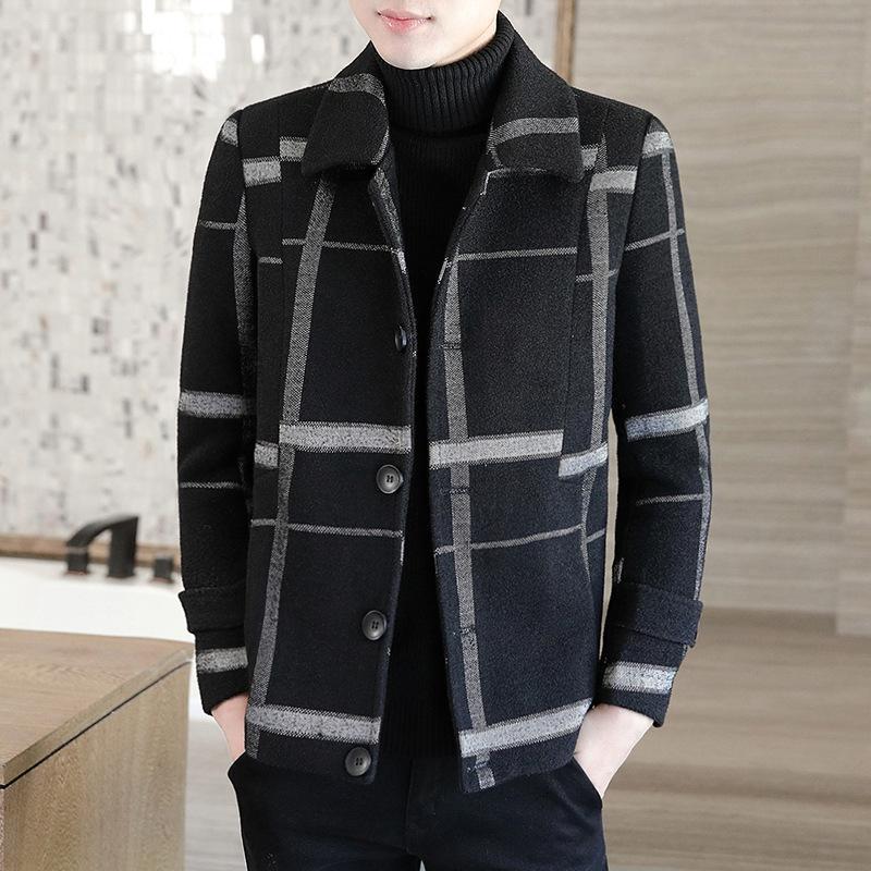 Шерстяная осень и зима утолщенные короткие шерстяные пальто мужская тенденция красивая девушка ветровка молодежь куртка