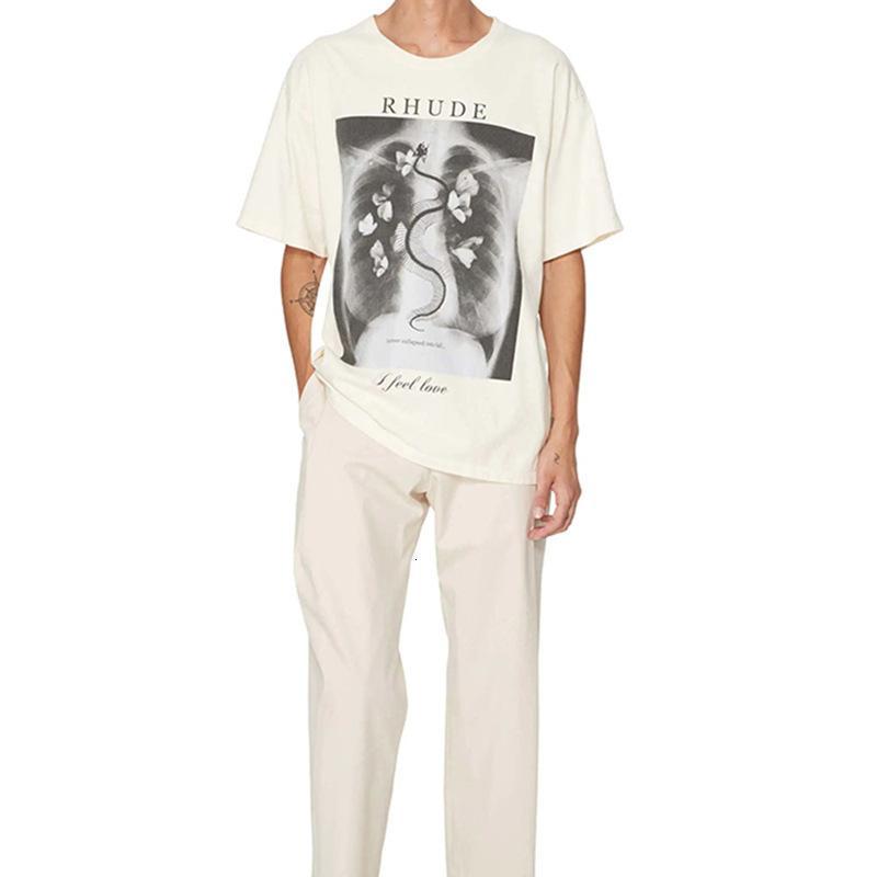 Meichao Rhude Borboleta Borboleta Imprimir High Street Hip Hop Solto Redondo Pescoço T-shirt de manga curta para mulheres e homens