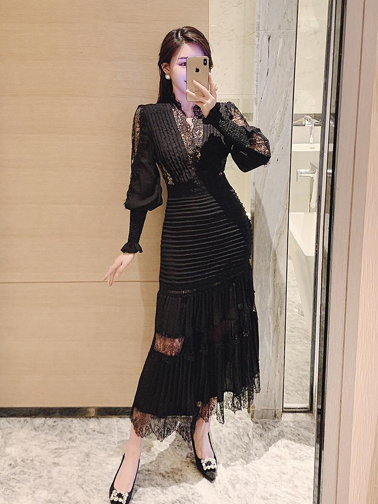 Fantasie neue elegante Interieur Frenze kombinieren lange Samtkleid für Frauen Herbst und Winter Kawaii Kleidung DASF