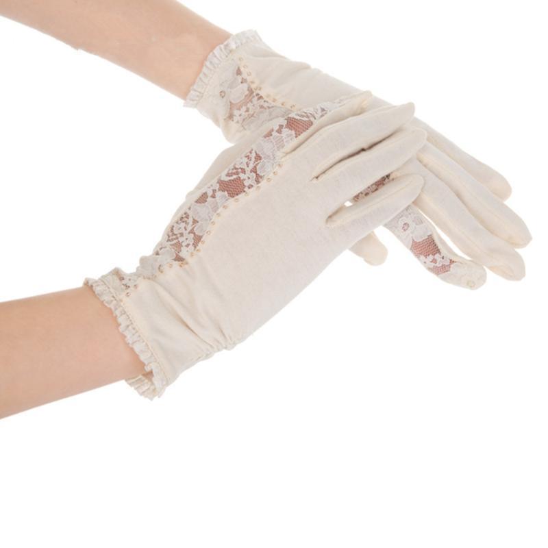 خمسة أصابع قفازات kenmont جودة عالية المرأة الصيف uv حماية القطن الرباط الرياضة مجفف الأظافر القفازات 2968