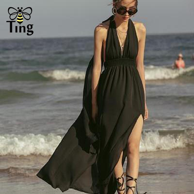 Casual Dresses Tingfly Böhmische sexy tiefe V-Ausschnitt Halfter Chiffon Maxi offener Rücken langer Split Boho Kleid Vestido Holiday Beach Fliege ROBE