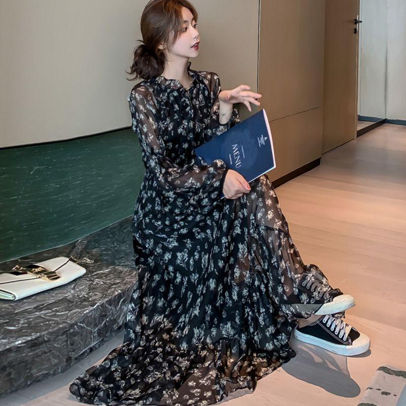 2021 Новая горячая распродажа современных цветочных шифон Maxi с длинным рукавом тропический пляж девушки бохо летняя мода черный Femme халат Ори