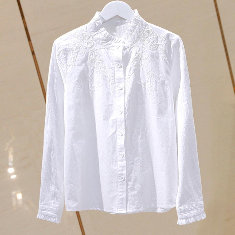 Camicetta estiva Camicia da donna Top in cotone coreano stile coreano floreale ricamato pieghettato a pieghe a pieghe a pieghe con colletto casual Plus size vestiti 210305
