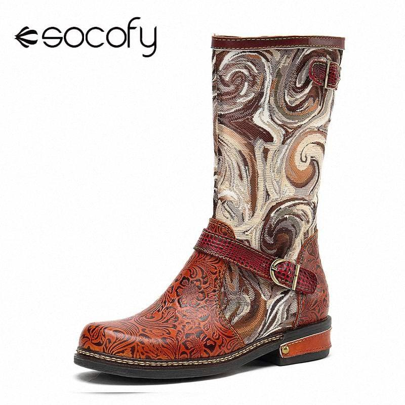 Socofy padrão fantástico em relevo couro genuíno emenda de metal fivela de metal liso bezerro botas elegantes sapatos mulheres botas mujer 16ha #