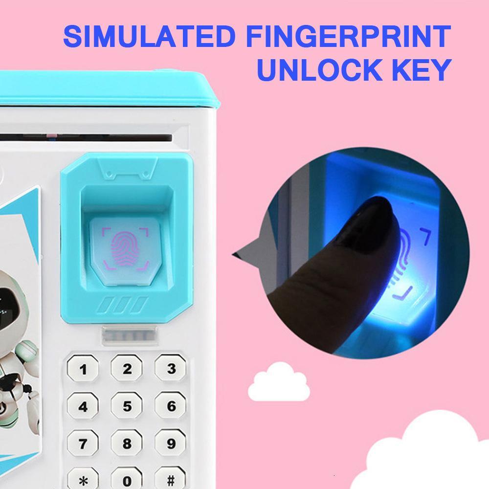 2021 Novo Eletrônico ATM Fingerprint Password Senha Caixa Moedas Banco Automático Notas Seguras Toy Música 6ayb