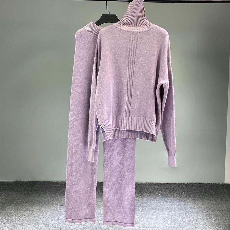 Damenmode Langarm Turtscheck Gestrickte Pullover + Wide Bein Lange Hose Stilvolle Damen 2 stücke Sets 075