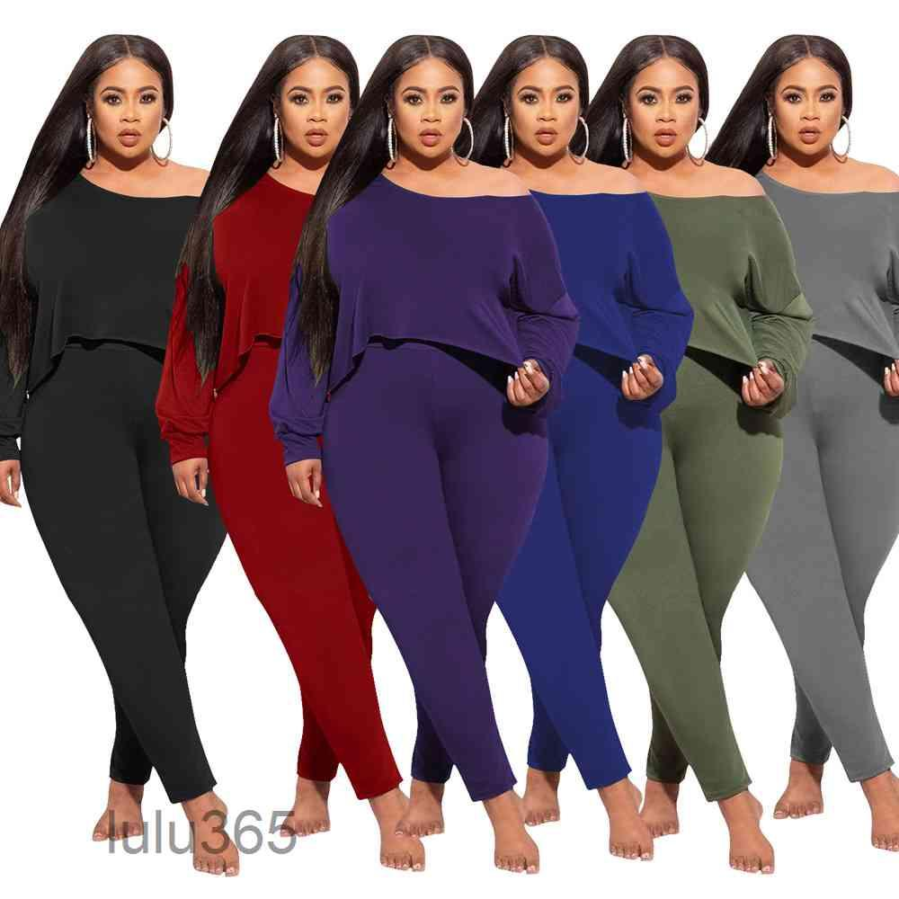solid color women Tracksuits Two Piece Set Skew Collar long Sleeve Irregular Crop Top and Trouser Clothing L-4XL lulu365