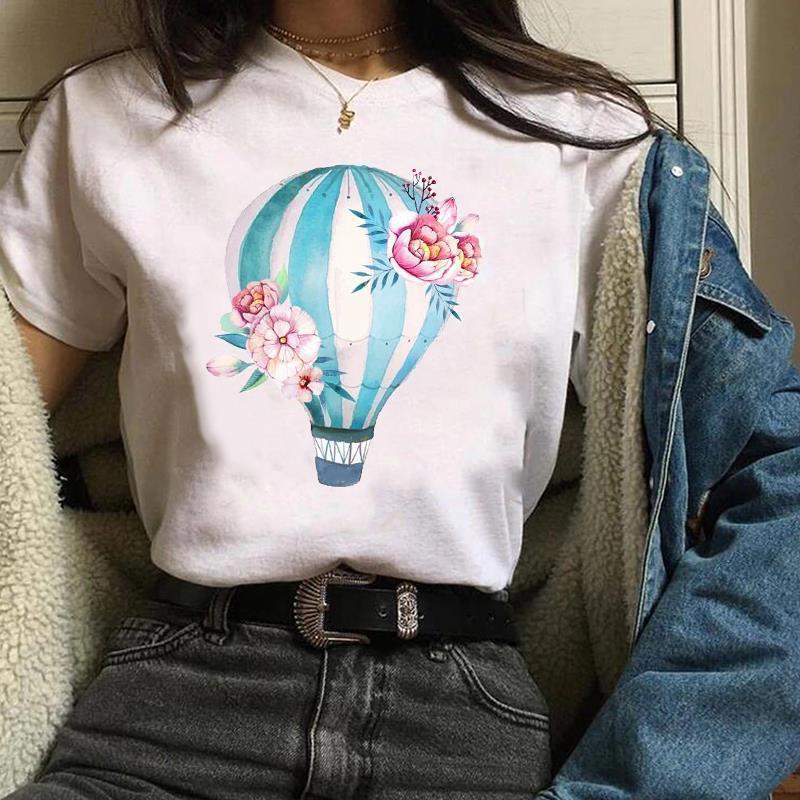 Женская одежда Lady Graphic Trend Trend Hot Balloon Mujer Camisetas 90s Симпатичные цветочные принты Tee Tees Tops Женская футболка Женская футболка