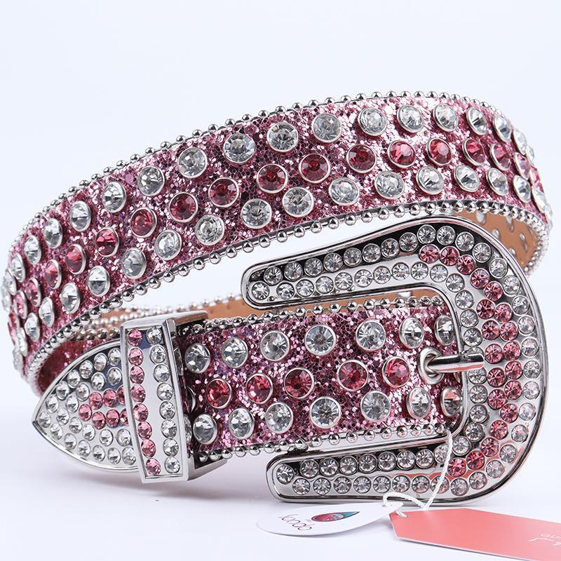 Cinturones de estilo clásico Rhinestone Belt Y2K Girl Designer Diamond Studded 9 colores de alta calidad PU Cuero brillante Cristal Gema