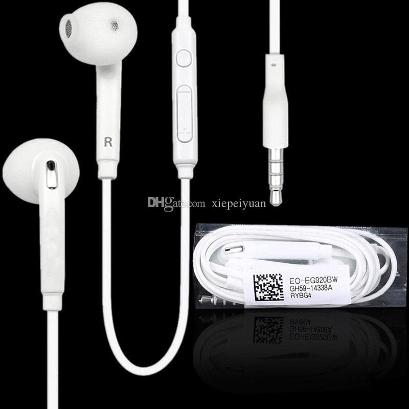 3,5 mm hörlurar i hörlurar hörlurar med hörlurar med mikrofon och fjärrvolymkontroll för Samsung S7 S6 Edge