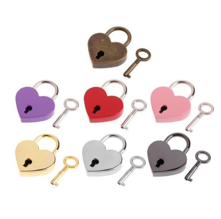 Cerradura de corazón estilo vintage mini aleación amor candado arcaize melocotón corazón bloqueo de viaje bolso de viaje maleta cuaderno papelería candado wmq581