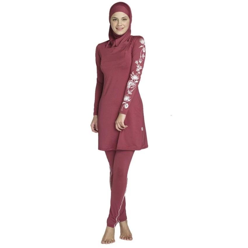 Burkini Femmes Plus Taille Imprimé Floral Muslim S-4XL Maillot de bain Mode Muslimah Maillot de bain Islamique Swim Surf Porter Sport Vêtements de sport