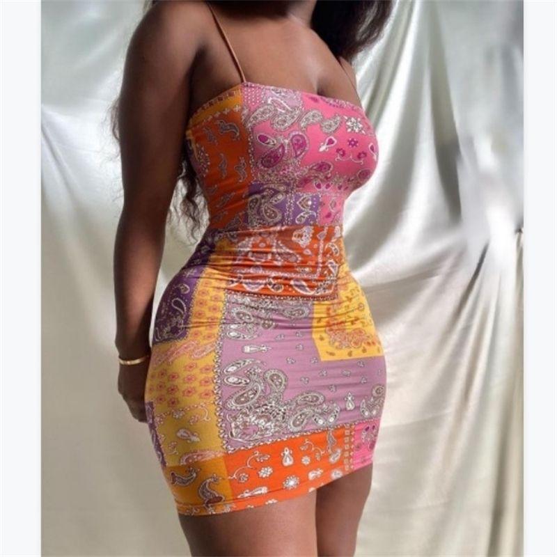 Neuer Druck enger Mini-Frauen-Strauß-sexy Kleid