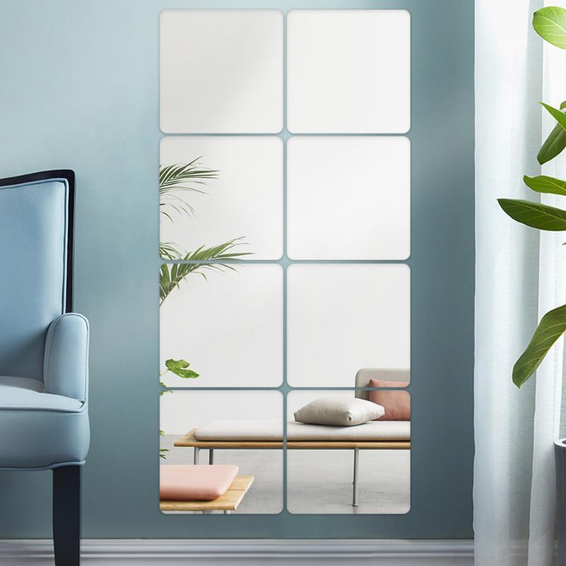 Espejos 4pc / 10pc 20cm espejo etiqueta de pared de azulejo de cerámica de cerámica película para baño sala de estar plateado cuadrado decoración autoadhesiva