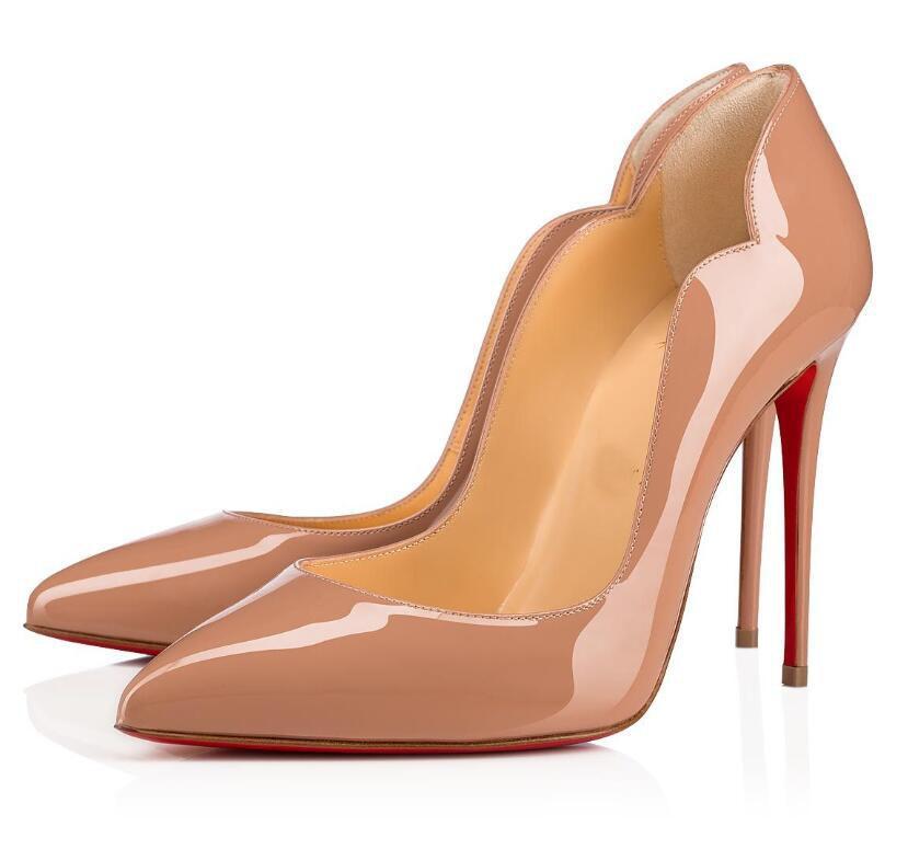 유명한 디자인 뜨거운 병아리 붉은 바닥 펌프 여성 하이힐 특허 가죽 누드 블랙 숙녀 드레스 파티 고급스러운 브랜드 레드 솔 신발