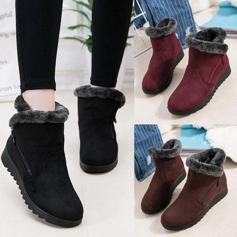 Bottes de neige Monerffi Bottes d'hiver Bottes en peluche Frochettes Chaud Plat Chaussures Suede 2019 Chaussures d'hiver Femme Bota Feminina X7O0 #