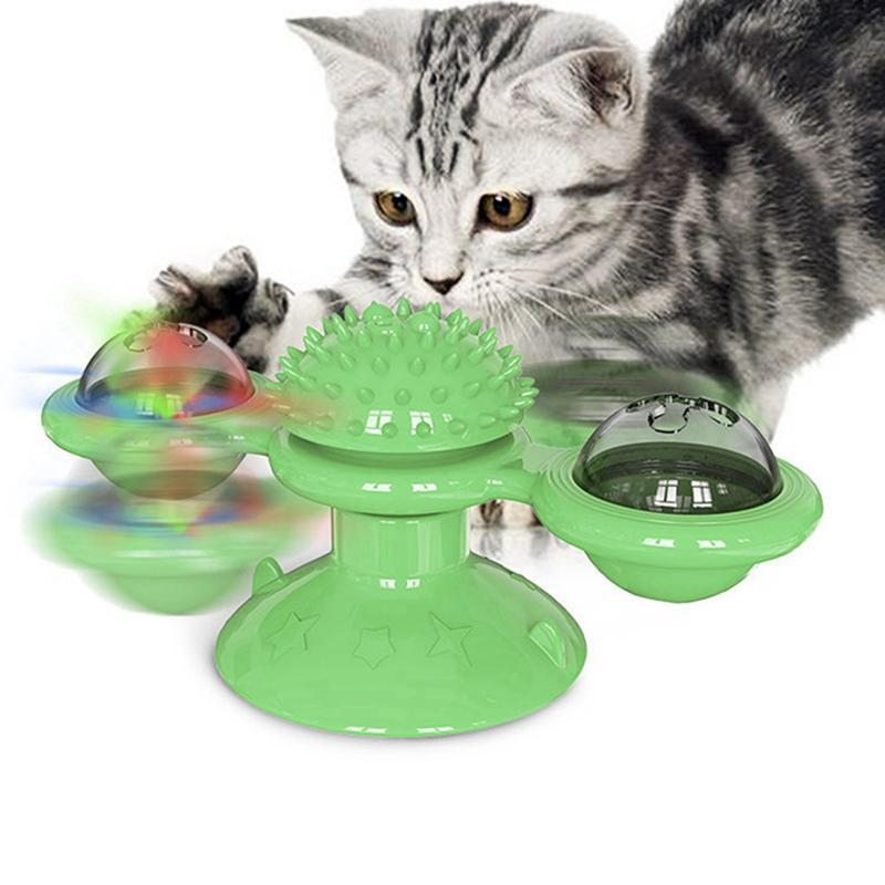 Cat Toys Pet Puzzle Turning Windmill Toy Turntable Teasing Funny Tickle Cats Hair Brushs Play Game Supplies