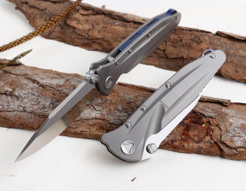 Высочайшее качество Высококачественная выживаемость Тактический складной лезвий нож D2 атласная точка D2 Blade TC4 титановый сплав ручки шарикоподшипников
