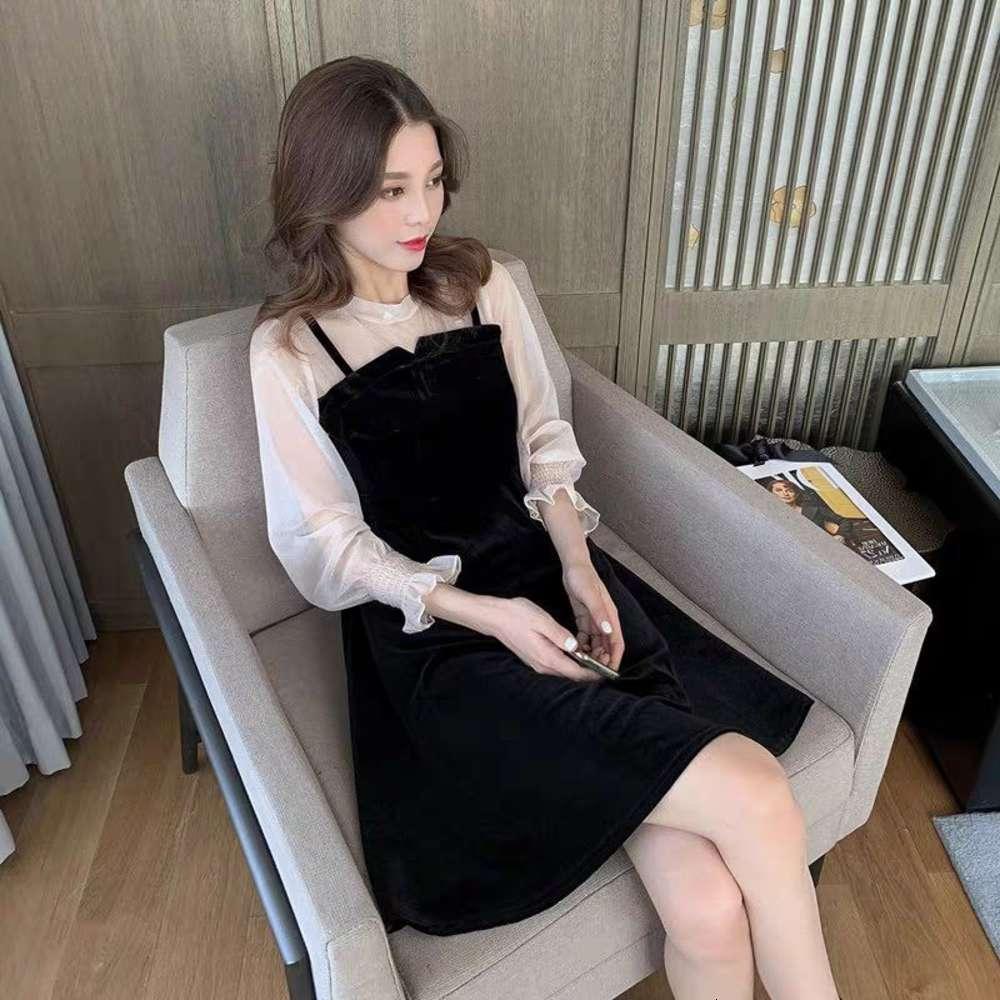 Golden Velvet Dress in chiffon cuciture falso a due pezzi a bobble manica super fata A-line Nuovo gonna di resistenza allo studente coreano