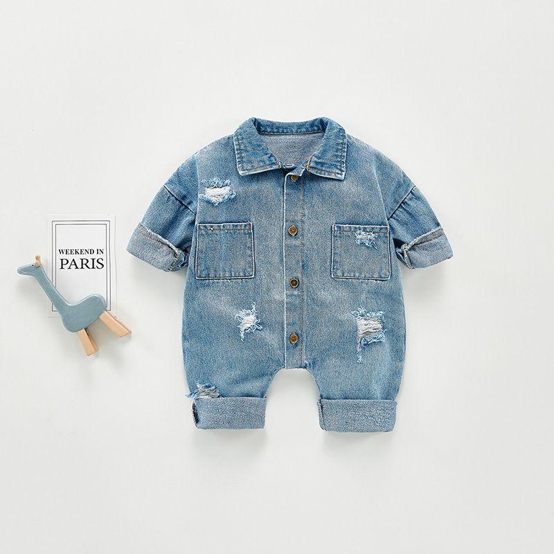 Milkel 2021 Frühling Neue Baby Strampler Einzelne Brust Baby Jungs Kleidung Deaktivieren Kragen Kleinkind Mädchen Denim Jumpsuit 210304
