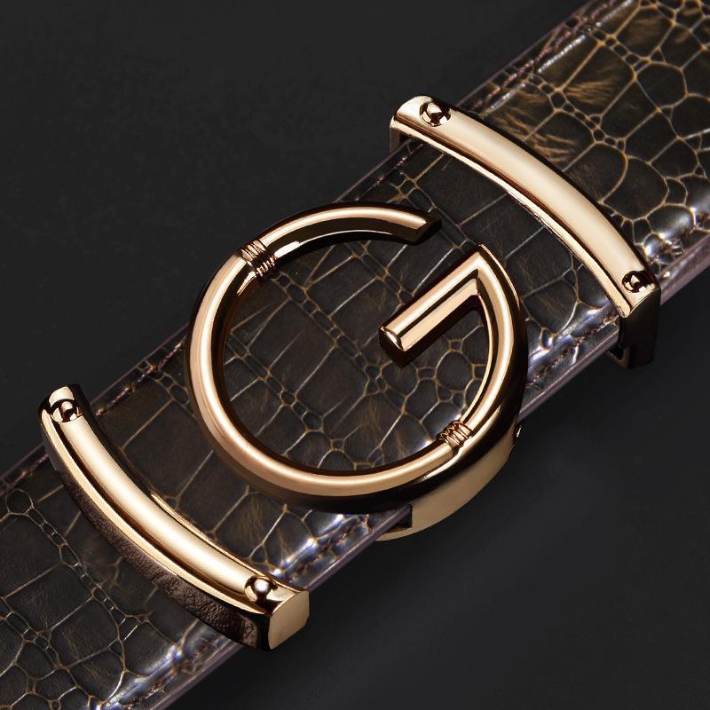 الجلود إلكتروني G على نحو سلس مشبك الترفيه الأعمال الراقية حزام الرجال الأزياء belteq7z