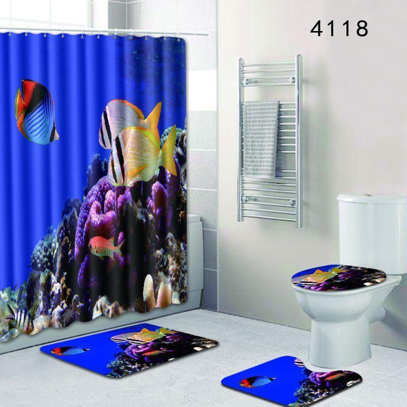 180X180cm Shower Curtain/Bath Mat Set Ocean Dolphin Deep Sea Bathroom Waterproof with 12 Hooks Toilet Cover Bath Mat Set