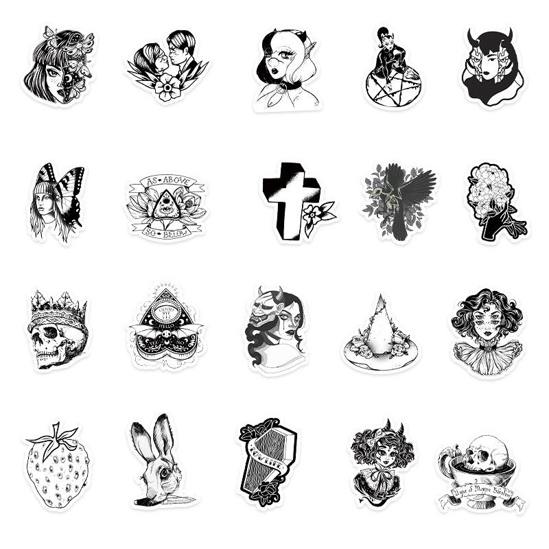 50 Black And White Gothic Personality graffiti stickers Skin Protectors luggage laptop car scooter decoration sticker