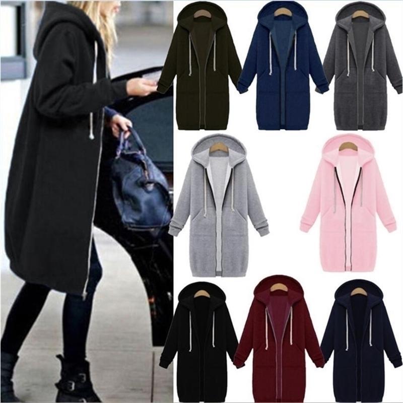 Laamei Autumn Winter Casual Women Long Hoodies Sweatshirt Coat Zip Up Outerwear Hooded Jacket Plus Size Outwear Tops 201017