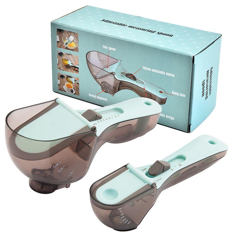Bakeware 부엌 베이킹 도구 조정 가능한 측정 숟가락 측정 숟가락 컵 스쿠프 세트 플라스틱 측정 세트 빠른 배송