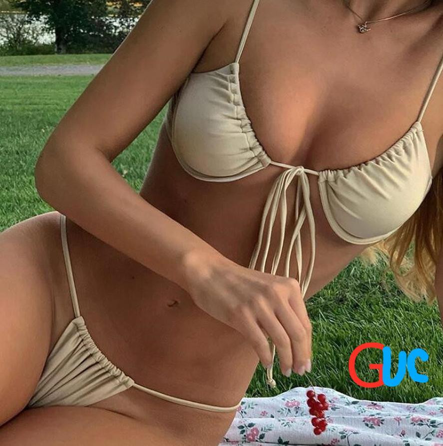 newsummerGUC fashion print classic plaid bikini.Wholesale discount for women's beach swimwear