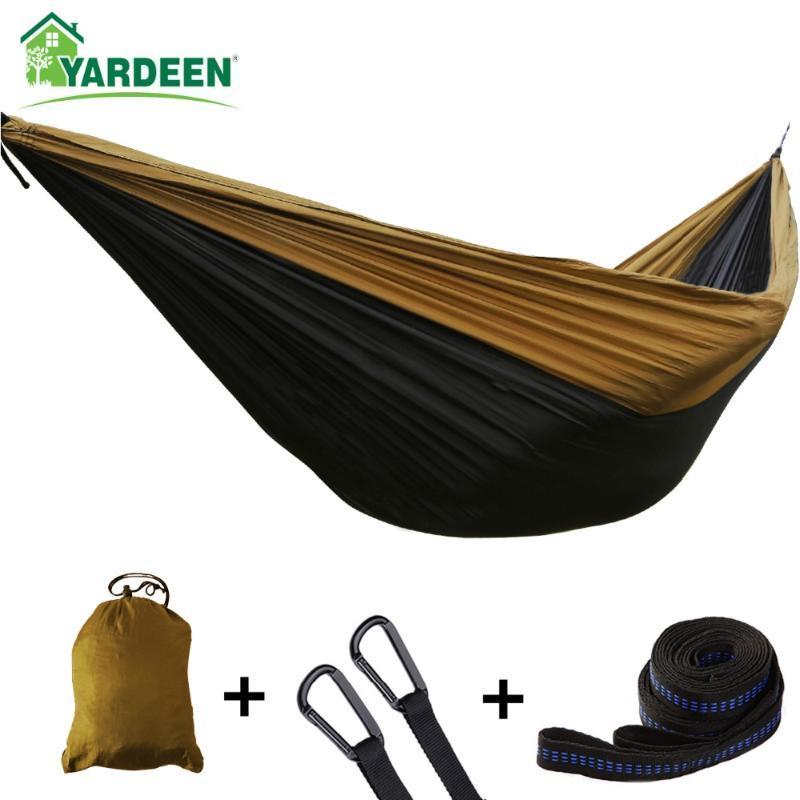 Hammocks Double Single 275 * 140cm Tree Camping Parachute portátil ao ar livre para viagens de sobrevivência de mochila