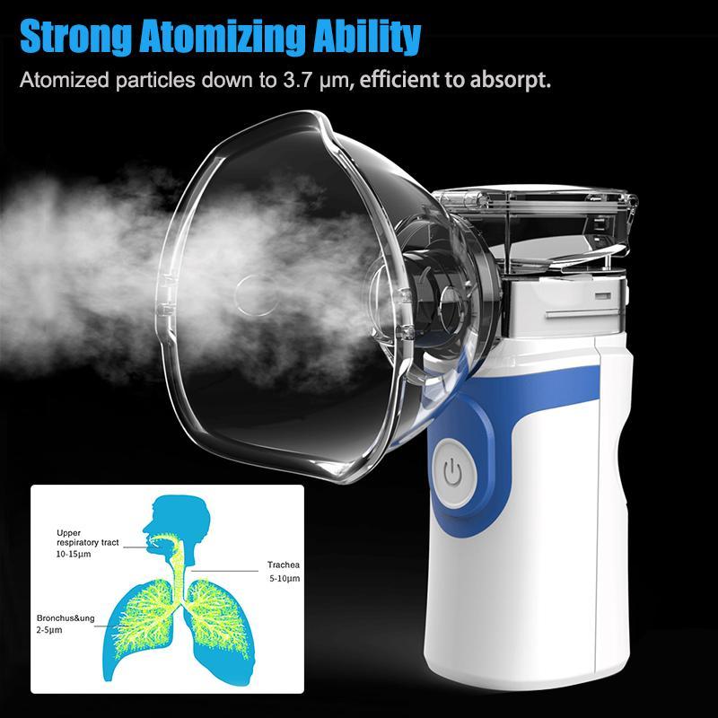 Soins de santé Inhale Nébuliseur Mini Portable Inhalateur à la vapeur à la vapeur pour bébé Adulte Atomisateur de maille rechargeable à l'adulte Inalador Nébulizador