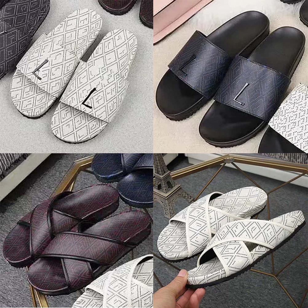 2021 Vertikal gut qualitativ hochwertiger Mann Frauen Sommer Echtes Leder Sandalen Strand Slide Mode Raster Hausschuhe Schuhe Größe EU 35-45 mit Box 01