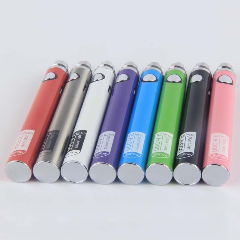 MOQ 10Pcs 100% Original UGO V II 650 900 mAh Batteries EVOD eGo T 510 Thread Vapes Pen Battery Micro USB Passthrough Vape e cigs vaporizers
