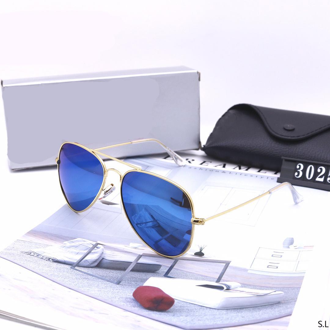 2021 Venda quente Marca óculos de sol polarizado homens mulheres piloto óculos de sol UV400 óculos clássico clássico copos de metal moldura com lente de vidro