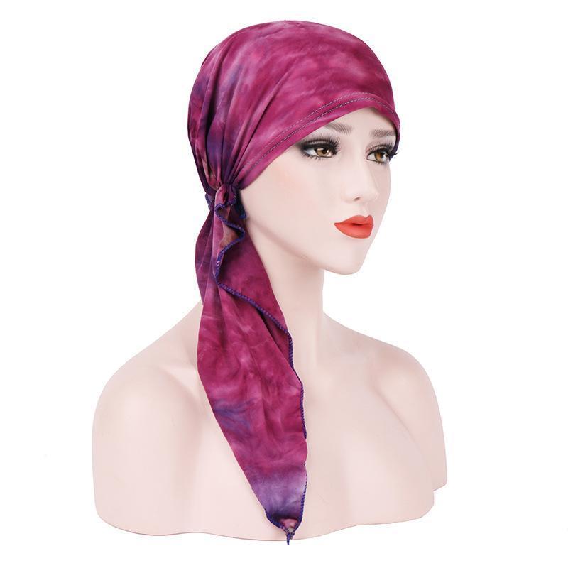 Mütze / Schädelkappen Weiche Rüschenkopf Schal Baumwolle Frauen Chemo Hut Turban Bandana Verlust Wrap Damen Headwear 2021 Mode