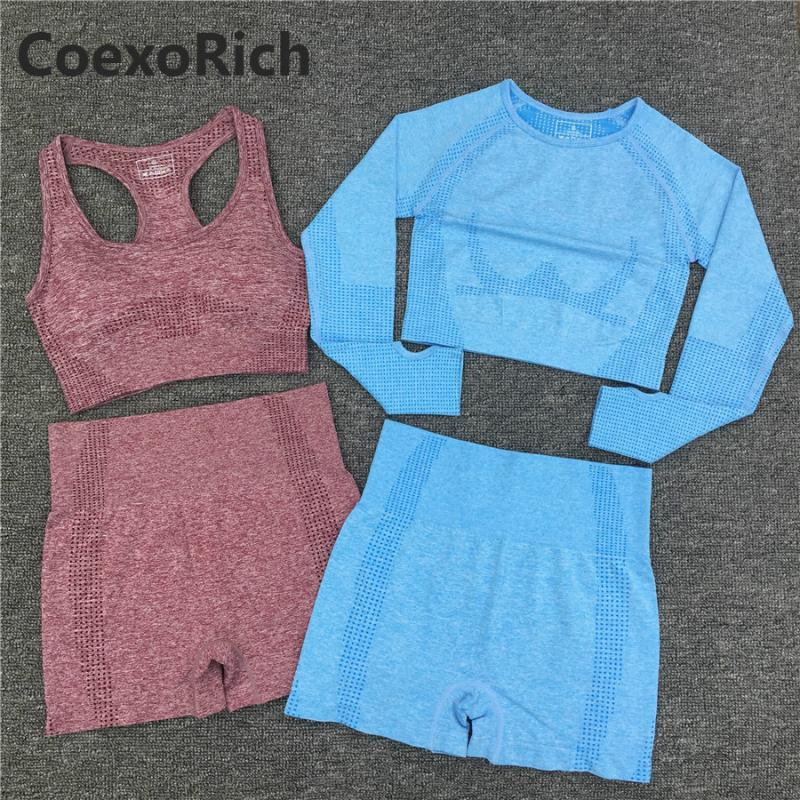 Mulheres Yoga Conjunto 2 Peça Novo Cor Esporte Terno Vital Sem Costura Ginásio Roupas Fitness Crop Top Camisa Alta Cintura Shorts Sem Mangas