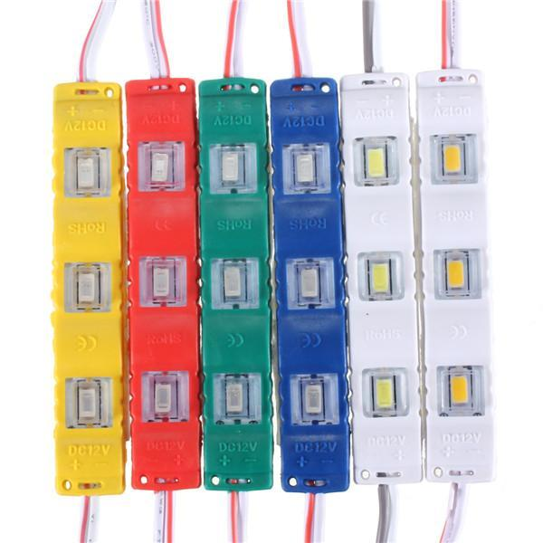 20pcs/lot DC12V 5630 SMD 3 LED Module Injection Waterproof IP55 Decorative Hard Strip Bar Light Lamp White Red Green Yellow Blue Strips